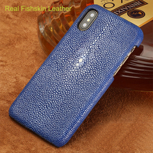 LANGSIDI Genuine Stingray leather Case for iphone 11 pro 6s 7 8 8plus X XS MAX XR Luxury Handmade Craft Back Cover