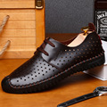 summer new men leather casual shoes breathable hollow soft bottom driving lazy tide men shoes