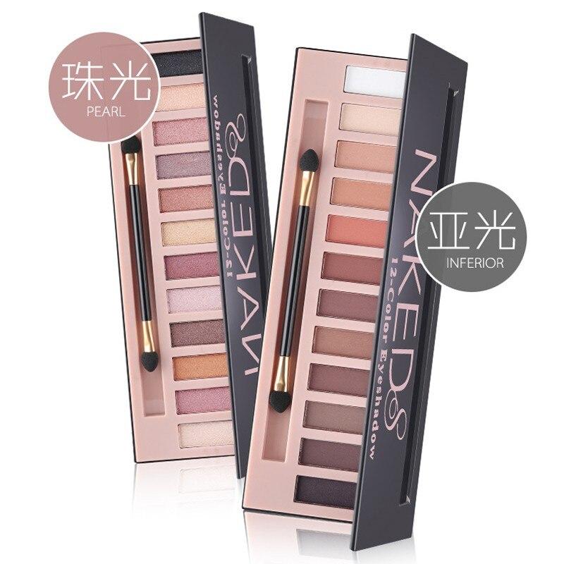 Hot Sale makeup 12 color smoky earth eye shadow Nude matte make up eyeshadow palette with brush kit set 5673# limoni набор кистей smoky eye brush set 5 шт