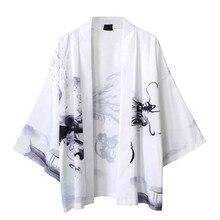Летняя мужская рубашка-Кимоно размера плюс, японское кимоно, кардиган, открытая вышивка, рыбка, дракон, принт, Harajuku, мужская одежда