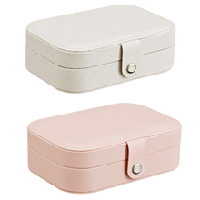 Bright Color Two-Layer Jewelry Display Box Storage Organizer Case For Rings Earrings Leather Multifunctional
