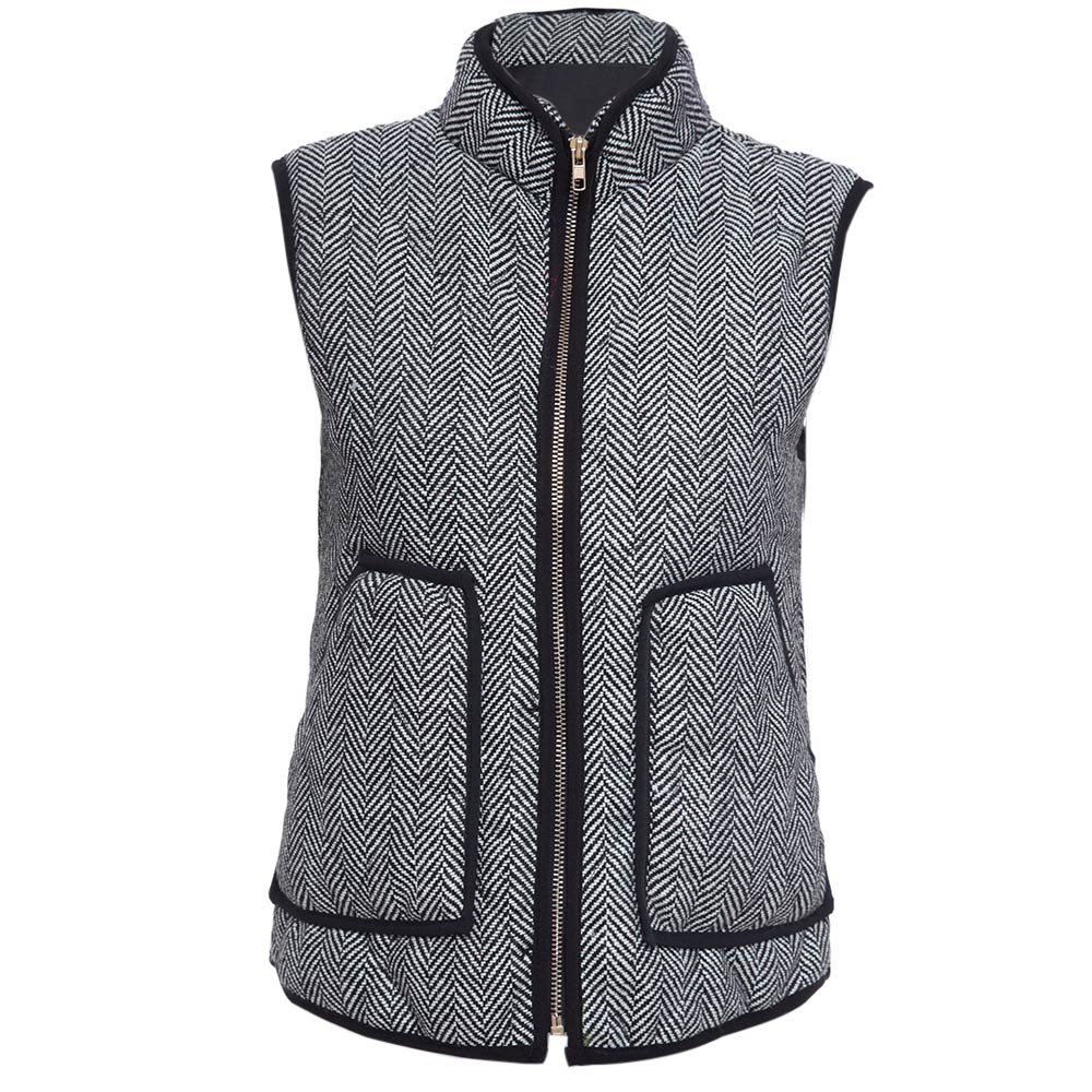 VESTLINDA Vest Women Winter Casual Jacket Vest Coat Veste Femme Striped Hooded Waistcoat Fashion Zipper Short Vest Plus Size 7