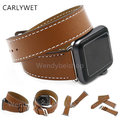 Carlywet real couro de bezerro brown band watch strap loop duplo turnê com adaptador de substituição para a apple watch iwatch 38mm 42mm