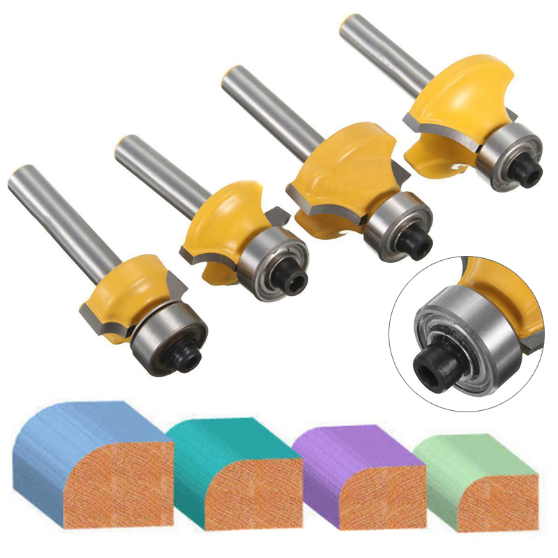 4pcs 1/4 Shank Round Over Router Bit Set 1/2 3/8 1/4 1/8 Radius Cutter Tool For Milling Tools round up 1 2 3