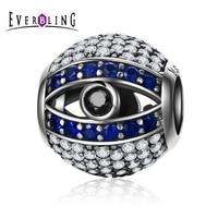 Everbling Bijoux Oeil De Nazar Chanceux Gardien 100% 925 Sterling Silver Charm Perles Fit Charms Bracelet Y