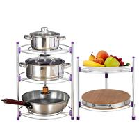 Multi functional Kitchen Storage Rack Stainless Steel Pan Pot Organizer Rack Multi layer Rack Height Adjustable Shelve