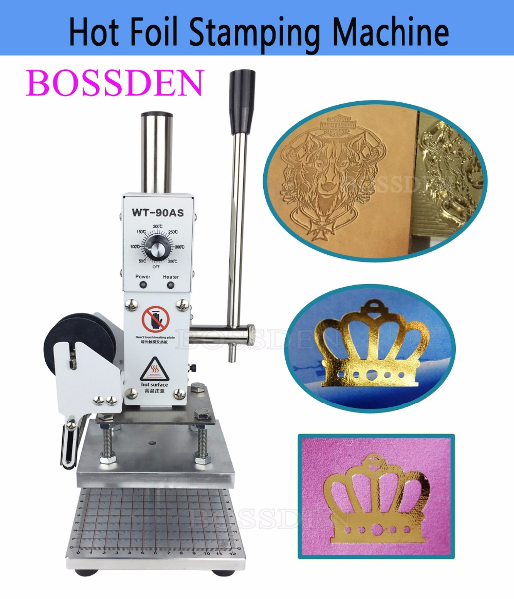 BOSSDEN Logo Manual Hot Foil Stamping Machine Press Embossed Tool Leather PU Wood PVC Paper Brand Bronzing Tool heat stamper-in Tool Parts from Tools    1