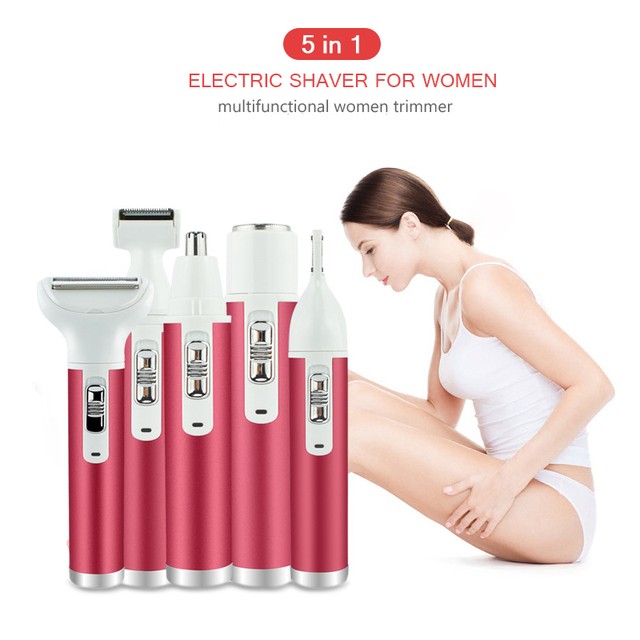 Electric Shaver for Women 5 in 1 Rechargeable Lady Epilator Waterproof Electric Razor Eyebrow Bikini Trimmer Body Hair Removal 1