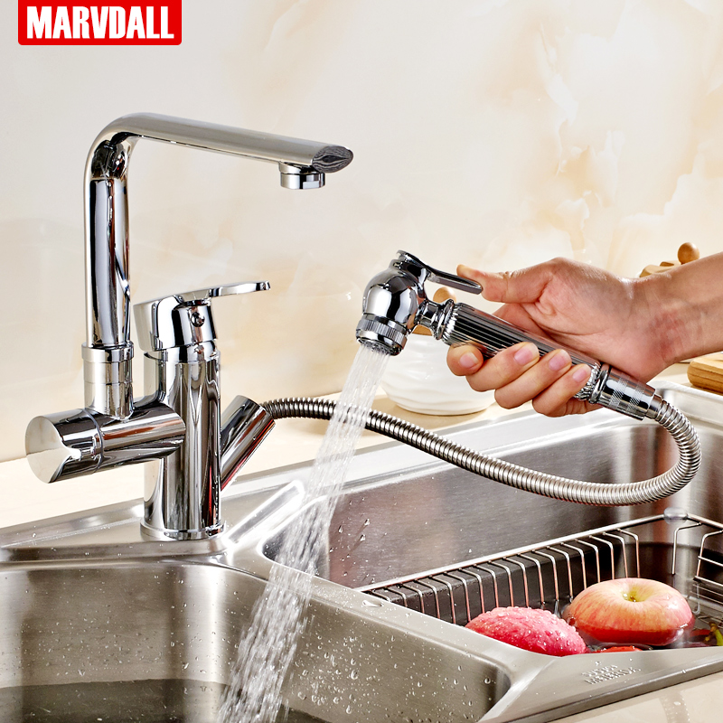 New design pull out kitchen faucet 360 rotating chrome finishing kitchen sink facuet of solid brass