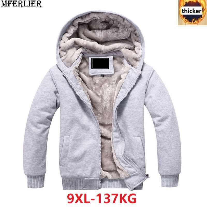 605874edbb4 men Sweatshirts parka jackets hooded hoodies thick warm fleece large size  big 6XL 7XL 8XL 9XL
