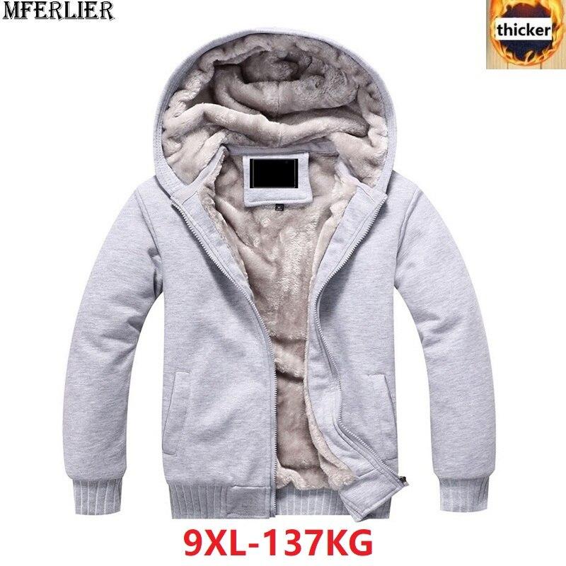 4ed08d87e9a Comprar Sudaderas para hombre parka chaquetas con capucha gruesa abrigada  polar talla grande 6XL 7XL 8XL 9XL cremallera invierno negro sudadera rojo  Online ...