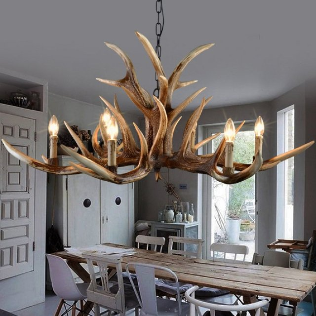 Europe Country 6 Head Candle Antler Chandelier American Retro Resin Deer  Horn Lamps Home Decoration Lighting