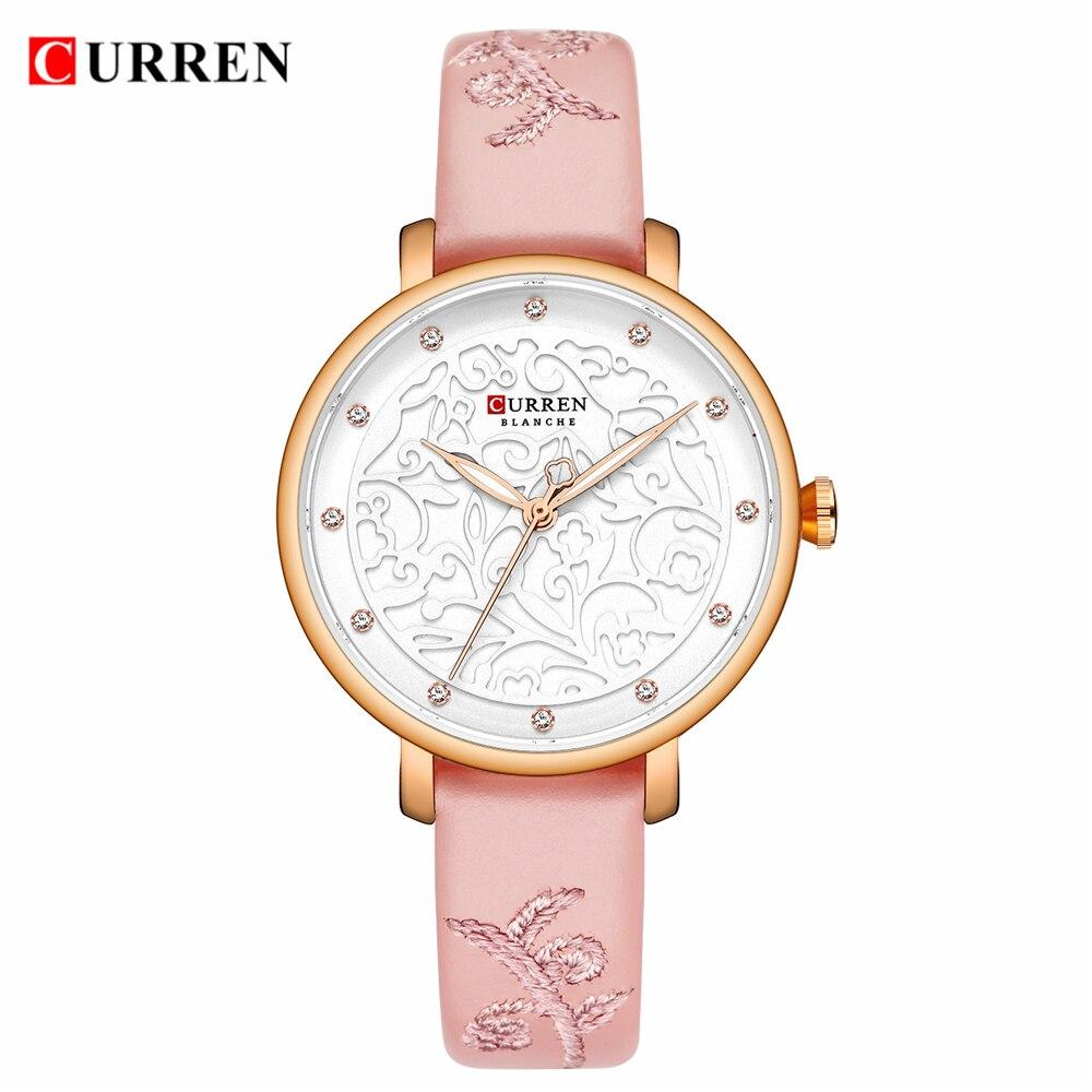 Women Watches 3D Creative Embossed Flowers Dial CURREN Ladies Pink Leather Wrist Watch Fashion Quartz Clock New Relogio Feminino