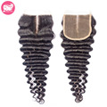 Middle Part Brazilian Lace Closure Deep Wave 7A Virgin Brazilian Hair Lace Closure 3 Part Bleached Knots Lace Front Top Closures