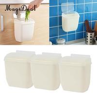 Set of 3 Wall Mounted Plastic Cabinet Kitchen Hanging Trash Can Wastebasket Rubbish Bin