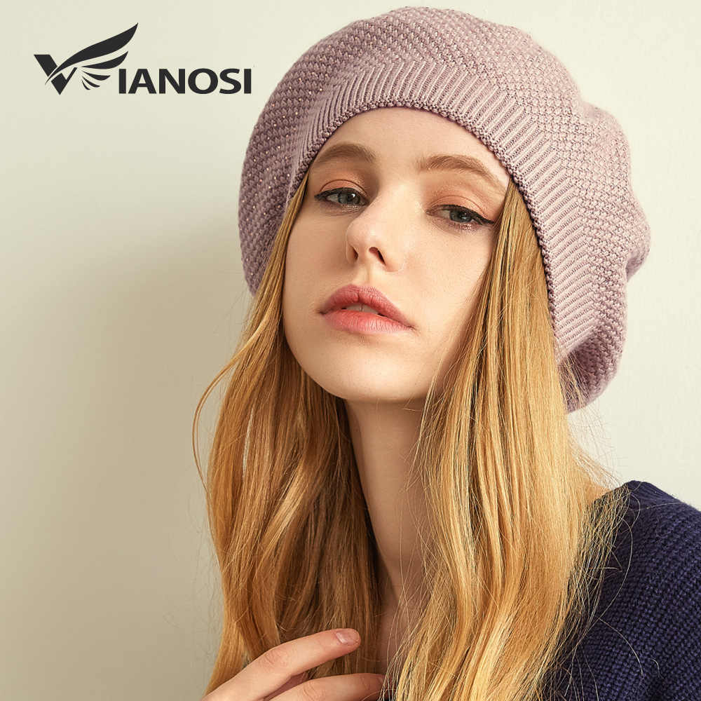 VIANOSI النساء الشتاء قبعة القبعات الإناث الأنجورا الصوف محبوك القبعات الفاخرة حجر الراين قبعات الموضة بلون سميكة Gorros