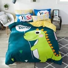 2019 Dark Green Dinosaur Cartoon Print Cotton Duvet Cover Set Twin Full Queen Bedding Set Flat Sheet/Fitted Sheet Pillow Cases contrast binding letter print sheet set