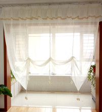 ZHH White Color Fashion Pleated Design flounced Lace Tulle Balcony Kitchen Roman Curtain Blind 1pc
