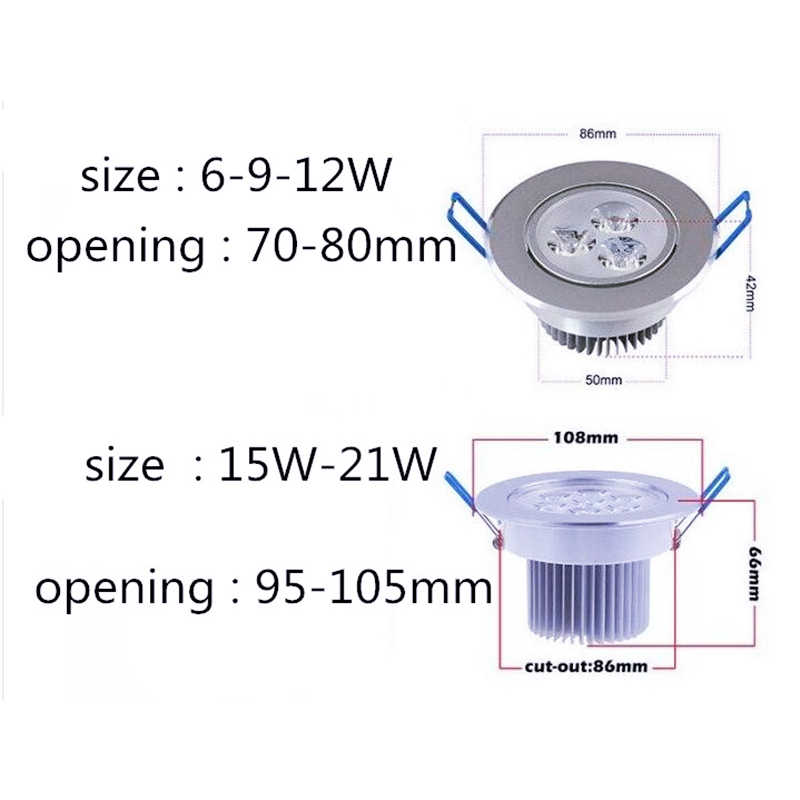 1pcs עגול Dimmable Led downlight אור תקרת ספוט אור 6w 9w 12w 15w 21w ac110-230V תקרה שקוע אורות מקורה תאורה