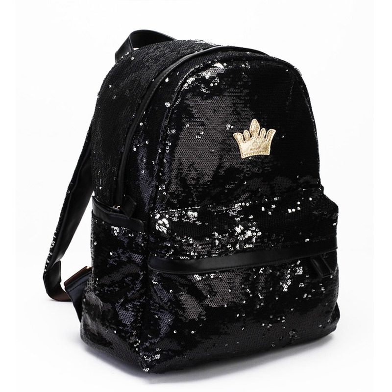 Women's Crown Canvas Backpacks Girl Student School Travel Bag Bag Paillette Bling Bag