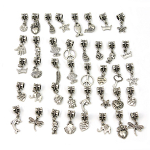 40pcs Tibetan Silver Mixed Dangle Charm Beads Necklace European Fashion Gift Bead Fit Charm Bracelet Women Jewelry Making