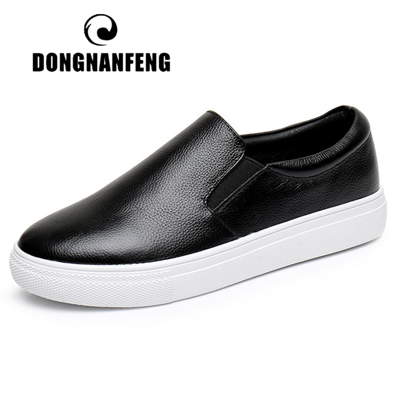 DONGNANFENG Female Ladies Women Gril Genuine Leather White Shoes Flats Loafers Sneakers Slip On Korean Vulcanized Shoes YZ-115