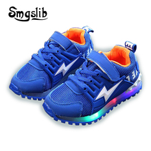 2018 Children Shoes With Light Kids Glowing Sneakers Spring Autumn Boy/girls Colorful Led Lights Fashion Luminous Shoes tutuyu glowing sneakers kids luminous sneakers colorful boys shoes led lights children shoes casual flat girls boy shoes lx 887