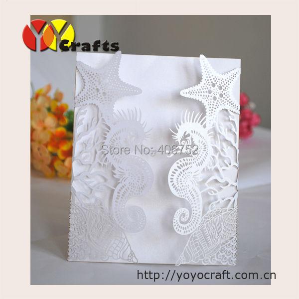 Laser Cut Customized Beach Starfish Seashell Sea Horse Wedding Invitations  Tree With Insert,envelope And Seal