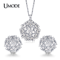 UMODE Brand Trendy White Gold Color CZ Wedding Jewelry Sets For Women Flower Design Crystal Necklace