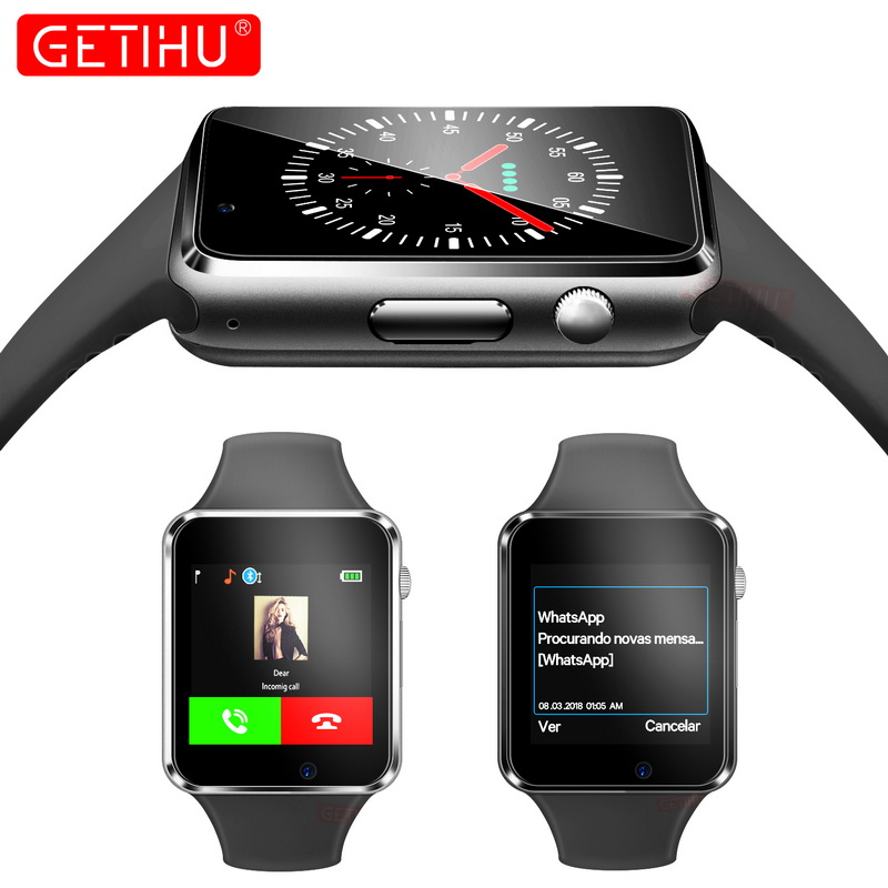 GETIHU Smart Watch Digital Wrist with Men Camera Bluetooth Wristwatch SIM Card Sport Smartwatch For iPhone Samsung Android Phone