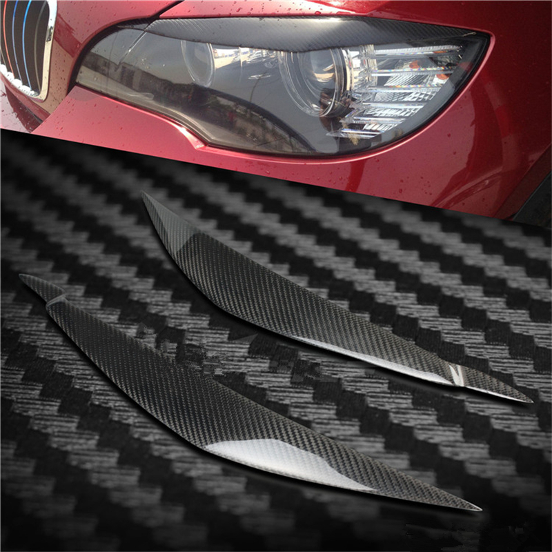 Free shipping 100% Real Carbon Fiber X5 E70 Carbon Fiber Front Headlight Eyelids For BMW X5 E70 2008-2013 Eyebrows Covers ветровики skyline bmw x5 e70 07