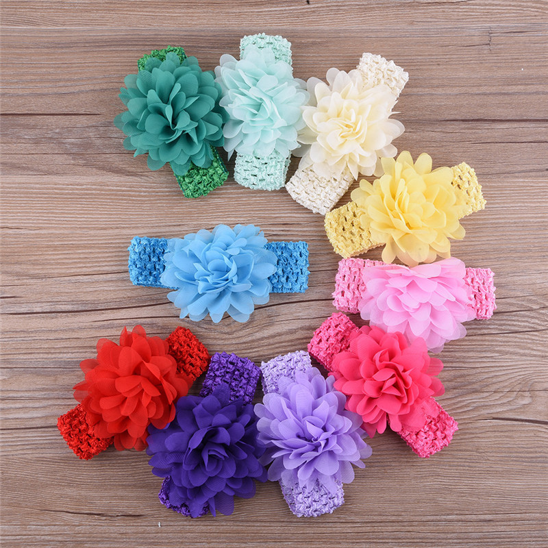 Fashion Baby Girl Chiffon Headband Big Flower Elastic Toddler Hair Accessories Solid Hairband Headwraps for Infant Hot Sale