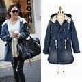 Бесплатная доставка новинка сгустите женские джинсы теплое пальто из искусственного меха воротник и рукава куртки шинель