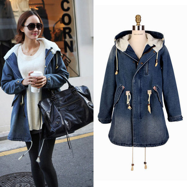 a20a93c5630 Free shipping New Fashion Thicken Womens Denim Jeans Warm Coat Faux Fur  Collar Sleeve Jacket Overcoat