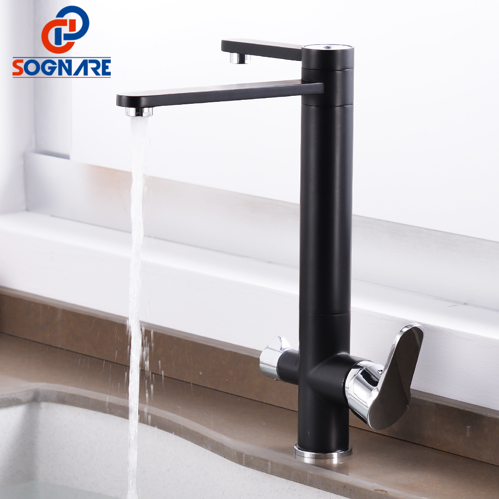 SOGNARE Black Kitchen Faucet Drink Water Taps for Kitchen 360 Rotation with Water Purification Features Kitchen Mixer Water Tap