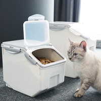 Pet Cat Dog Feeder Anti oxidation Dry Storage Fresh Box Food Dog Bucket with Measuring Cup Dog Accessories Large Capacity