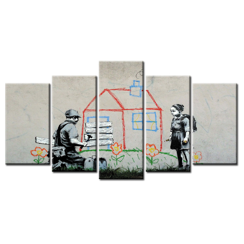 Wholesale 5 Pieces/set Abstract graffiti series poster Canvas Painting for living room Decoration Print Pictures Framed