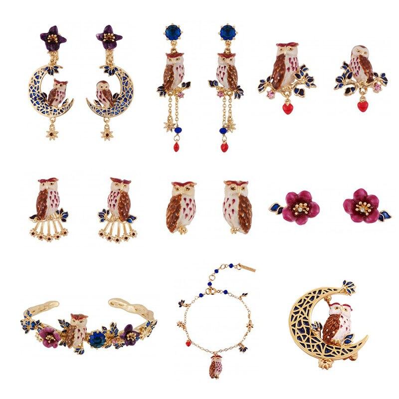 Dyxytwe Enamel Fashion Earrings Brooch Bracelets Jewelry Sets For Women Luxury Purple Owl Flower Jewelry Good Quality цена