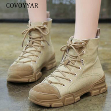 COVOYYAR 2019 Canvas Women Boots Military Combat Ankle Boots Autumn Winter Lace Up Army Platform Flat Shoes Woman WBS028