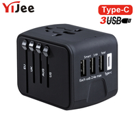YiJee Electric Plugs Sockets Adapter International Travel Charger Universal Adapter For UK US AUS EU With