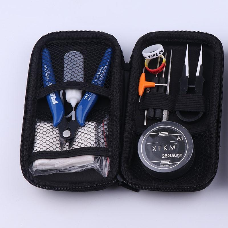 NEUE XFKM Mini Vape DIY Werkzeug Tasche Pinzette Zangen Draht Heizungen Kit Spule Jig Wicklung Für Verpackung Elektronische Zigarette Zubehör