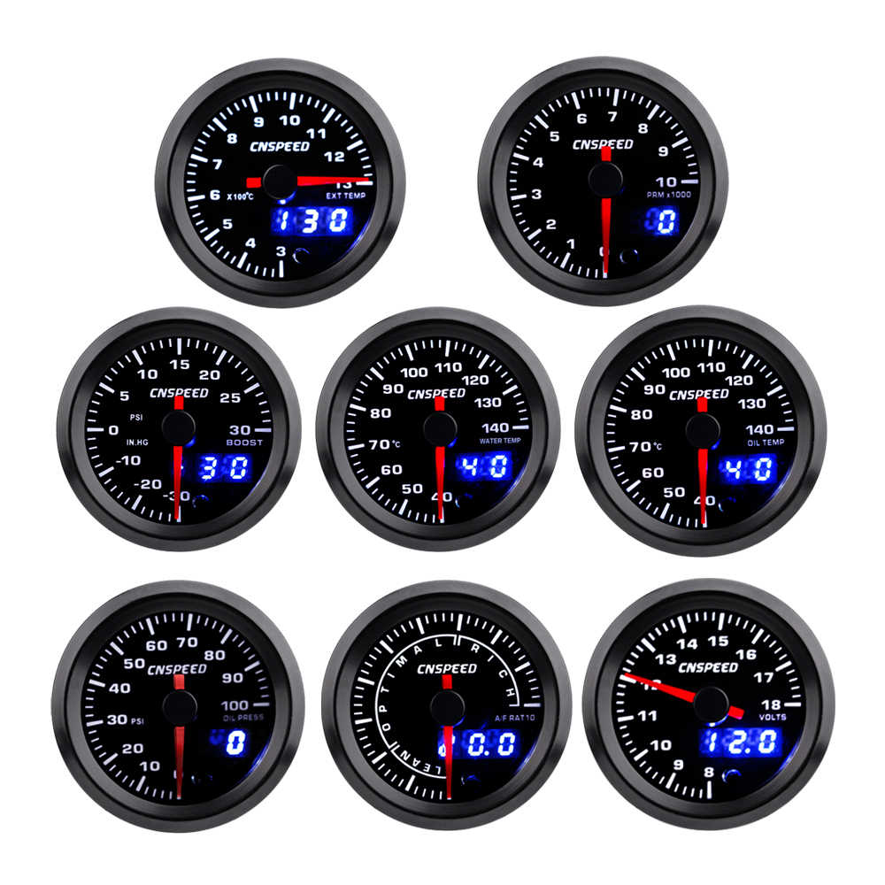 "2 ""52 Mm Turbo Boost Air Temp Suhu Minyak Minyak Volt Udara Bahan Bakar Rasio Exhaust Gas Temp Tachometer mobil Gauge dengan 7 Warna LED"