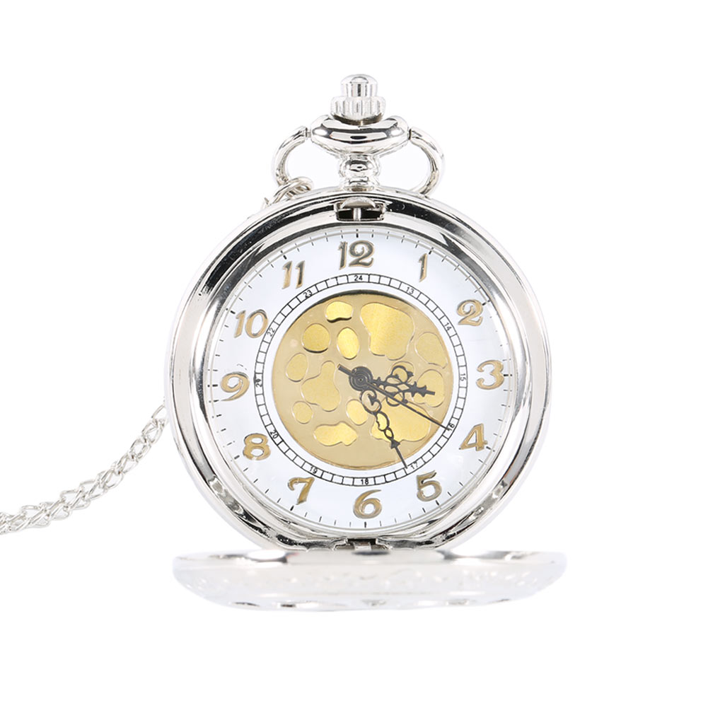 Vintage Silver Face Hollow Flower Quartz Gold Dial Pocket Watch Necklace Pendant With Chain Birthday Gifts LXH