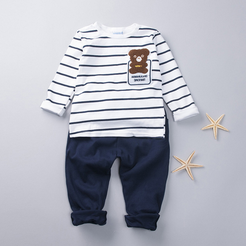 Brand SK Baby Clothes 2018 Spring Boys Clothing Sets Fashion Boys Clothes Sport Suit Striped T-Shirt+Pants Kids Clothes for Boy baby boy clothes 2017 brand summer kids clothes sets t shirt pants suit clothing set star printed clothes newborn sport suits