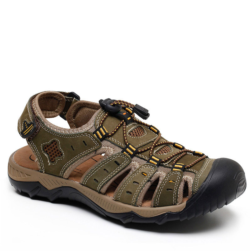 Hiking Sandals Sport-Shoes Mountain-Climbing Outdoor Genuine-Leather Breathable Aqua