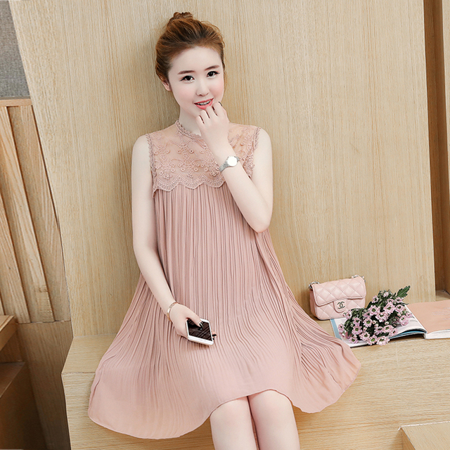 2017 Maternity Dresses Lace Sching Pleated Chiffon Summer Sundress Cute Pregnant Wedding Party Dress Pregnancy Women