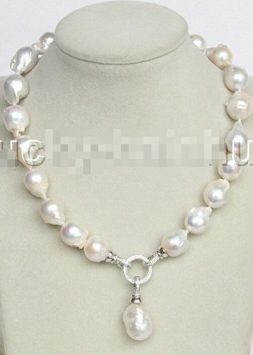 "FREE shipping>>> >>>NEW stylish Baroque 17"" 25mm white Reborn keshi pearls necklace 18KGP j11162"