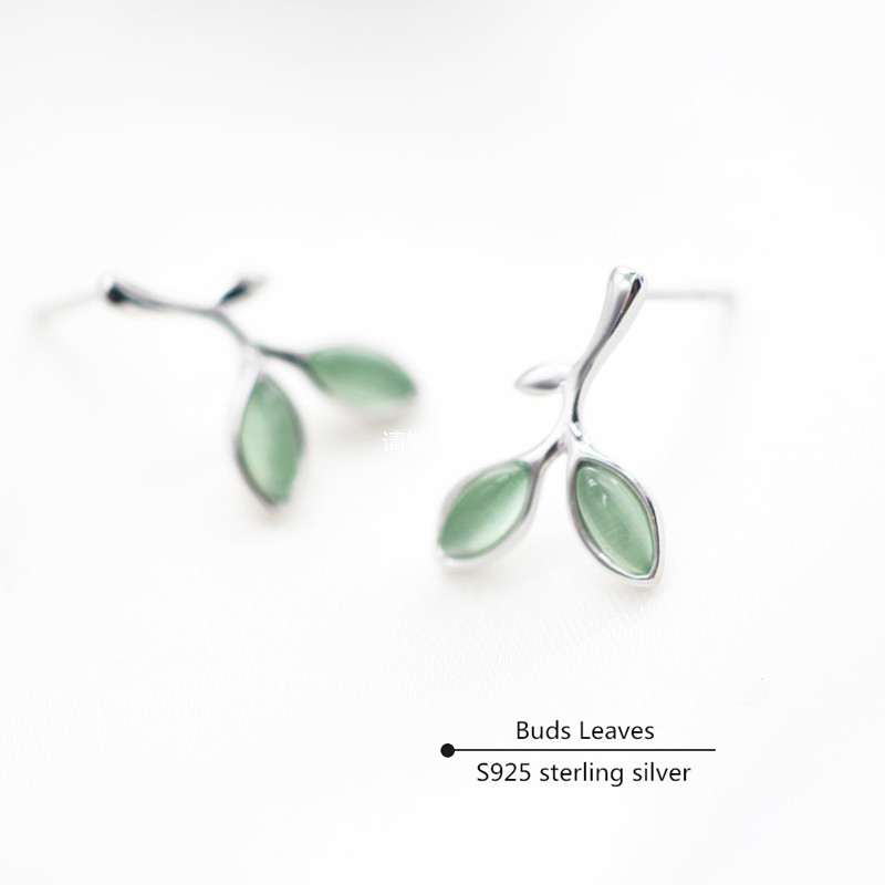 Buds Leaves Stud Earrings For Women Natural Smoky Quartz S925 Sterling Silver Fine Jewelry Temperament Bride Wedding AretesBuds Leaves Stud Earrings For Women Natural Smoky Quartz S925 Sterling Silver Fine Jewelry Temperament Bride Wedding Aretes