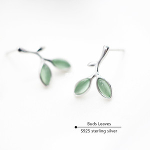 Buds Leaves Stud Earrings For