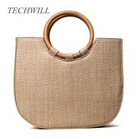 NEW 2017 Fashion Summer Tote Straw Bag Women Wood Handle Bags Large Beach Straw Knitting Totes Luxury Free shipping
